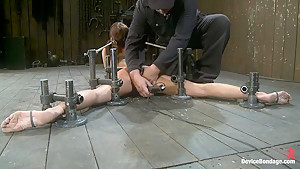 Machine double penetrated to multiple brutal orgasms...