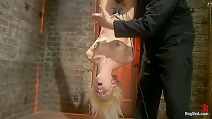 Tiny southern belle hung upside down clamped flogged...