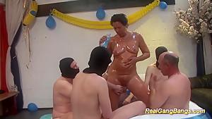 Oiled moms first real gangbang...