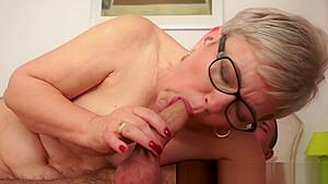 Spex granny gagging on fat cock...