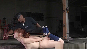 Sub brutally flogged before getting hogtied...
