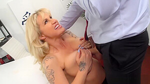 Huge boobs mature analyzed by her coworker...