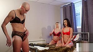 Babes instructing sissy to tug...
