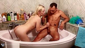 Blowjob big dick and handjob bathroom...