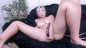 Dyed hair masturbation squirting...
