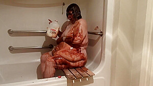Ugly obese huge belly nude shower with chocolate...