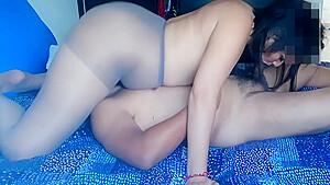Pantyhose sex extreme sloppy blowjob and facesitting...