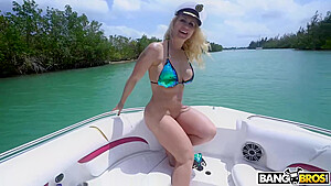 Curvaceous get a up in a boat...