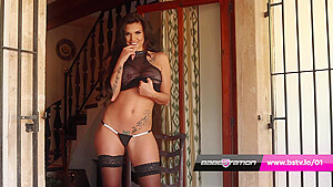 Candy sexton girl strips off in stockings...