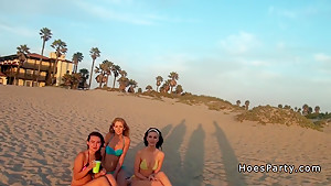 Three babes from beach to orgy party...