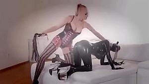My femdom wife training a latex lesbian...