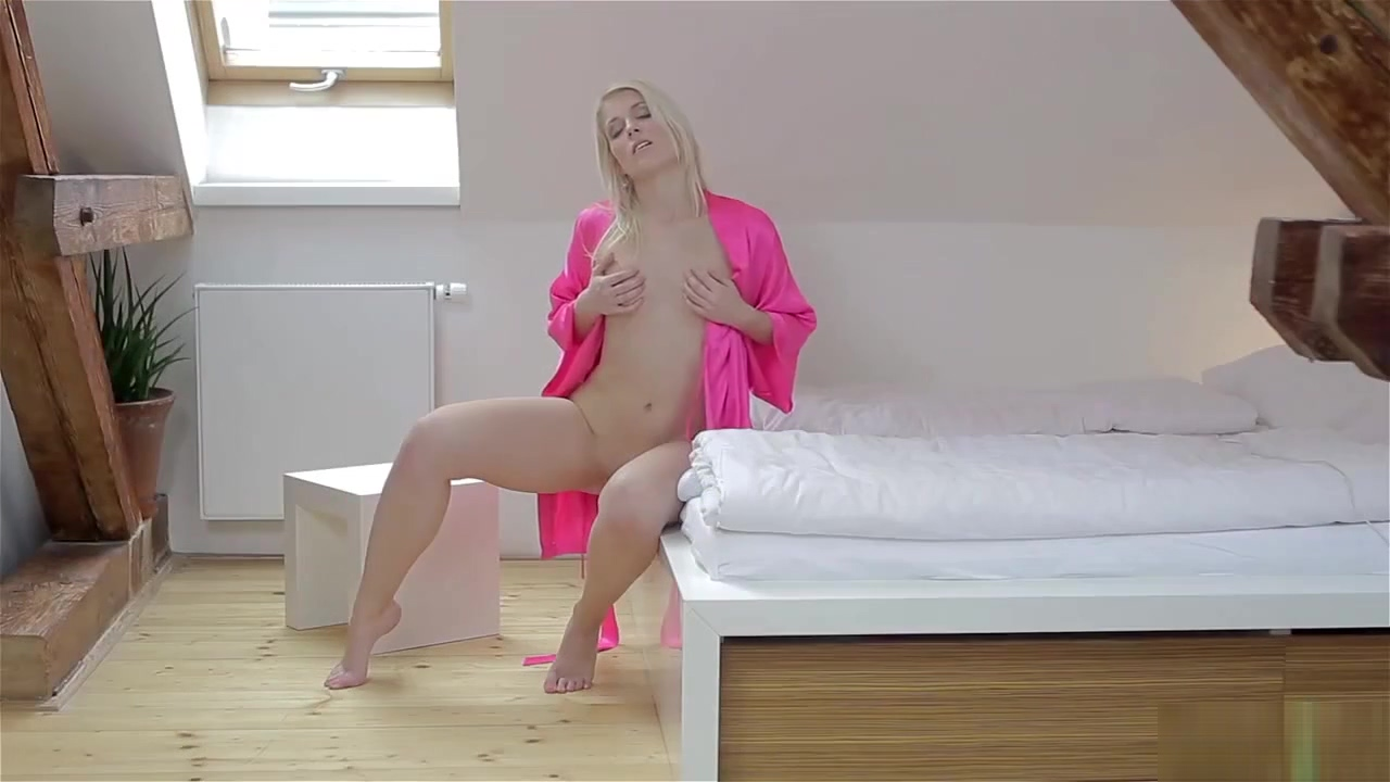 Sweet Cat takes off silky pink gown and plays with her Hitachi Magic Wand