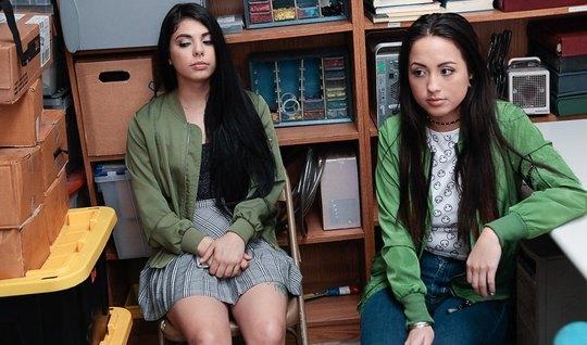 2 Teen Brunettes Undressed In Front Of The Guy In The Office To Eng