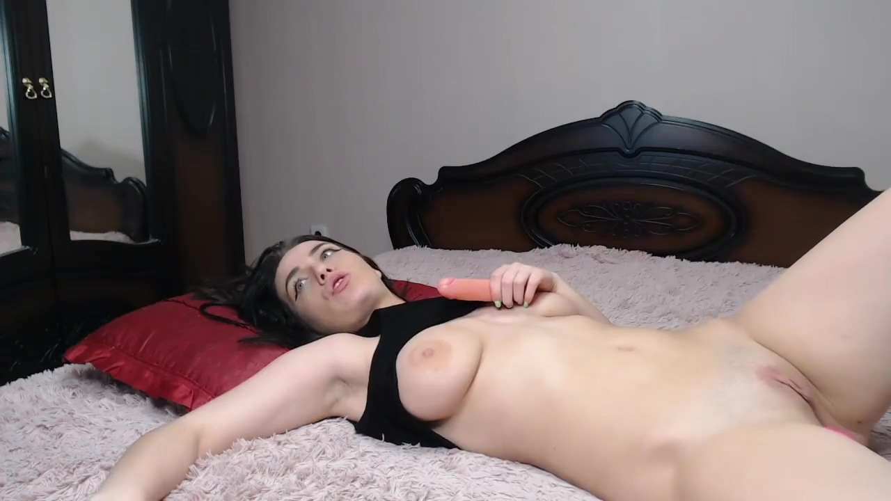 Adorable Slut With Double Toy Penetrating And Masturbating In Bed