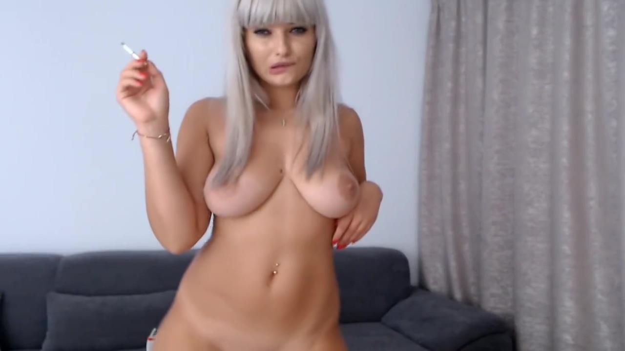 Erotic Blonde Smoking And Dancing