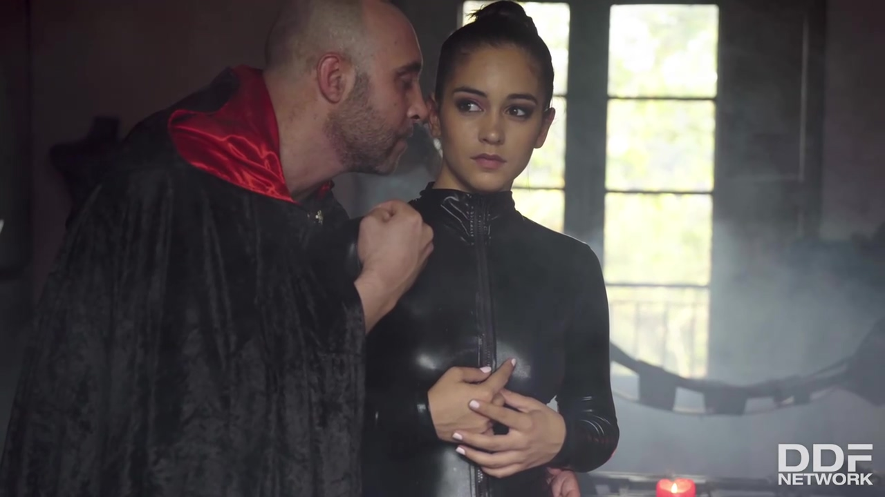 Hot brunette in black, latex costume, Ginebra Bellucci is getting fucked in her room for pleasures
