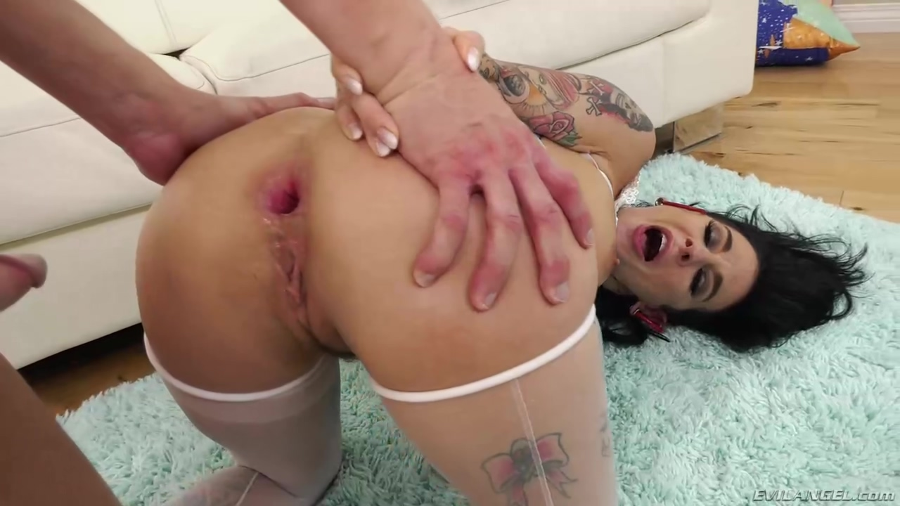 Tattooed Brunette Joanna Angel Is Wearing White Lingerie While Sucking Cock And Having Anal Sex