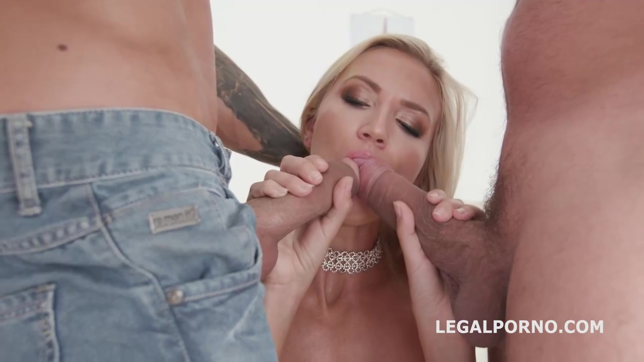 Hot Blonde Woman In Sexy Black Stockings Alina Long Is Having Anal Porn With Two Guys