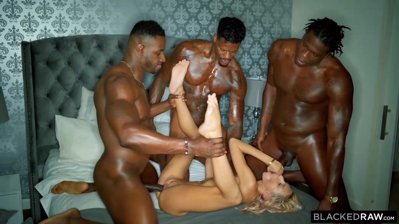3 Hot Black Men Are Stretching 1 Poor Blonde Cutie With Their Hard Throbbing Cocks