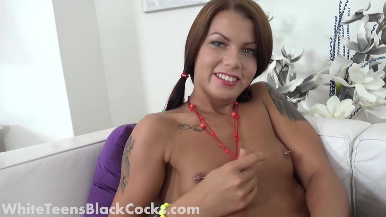 Pigtailed Brunette Is Drooling While Sucking A Big Black Penis Before Getting It Up Her Ass