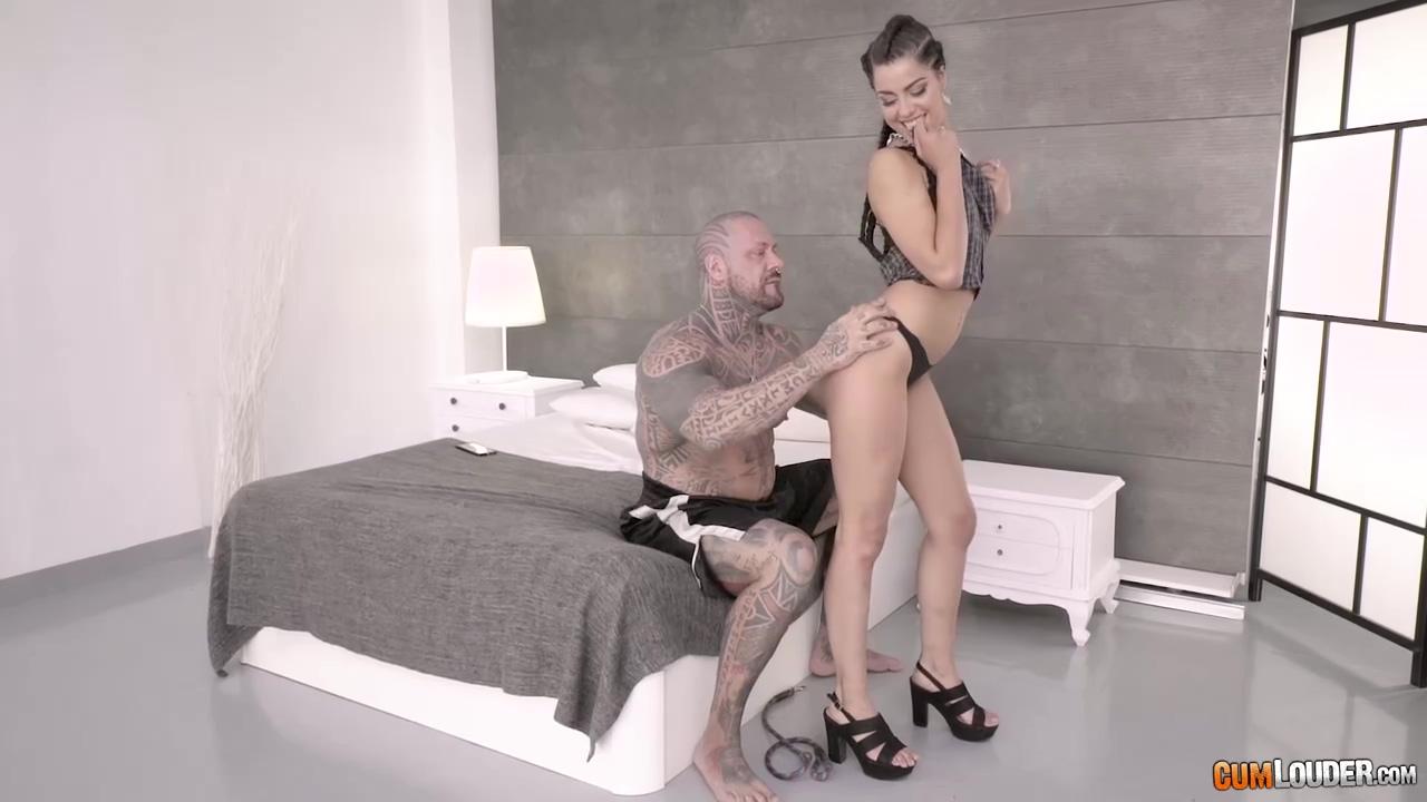 Tattooed Bald Man Is Shoving His Massive Dick Deep In A Bad Sluts Soft Pussy