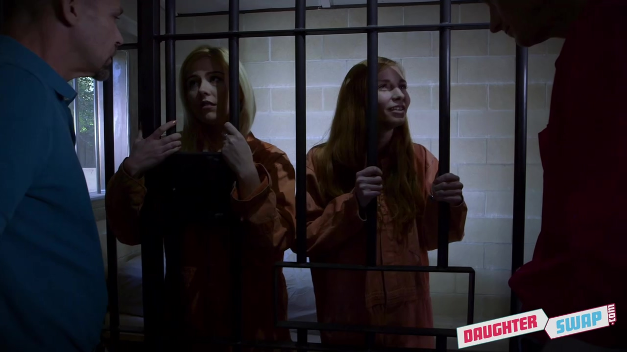 Two horny guys are fucking Ava Parker and Summer Day, while in the prison cell