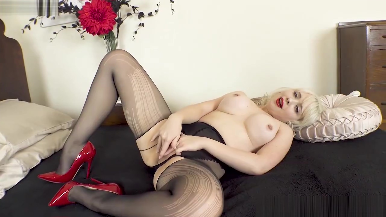 Petite blonde Cherry English rips pantyhose for full on toy frigging action