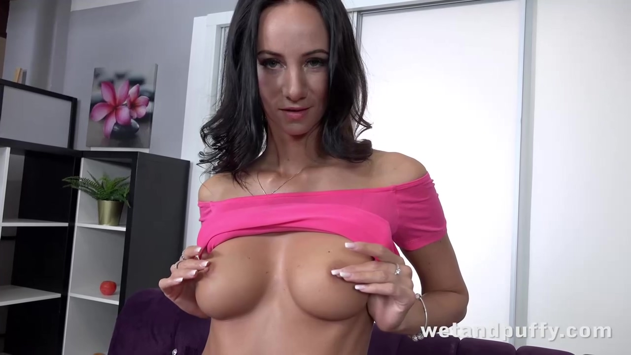 Erotic Brunette Eveline Neill Is Playing With Her Hardcore Toys While In Front Of The Camera