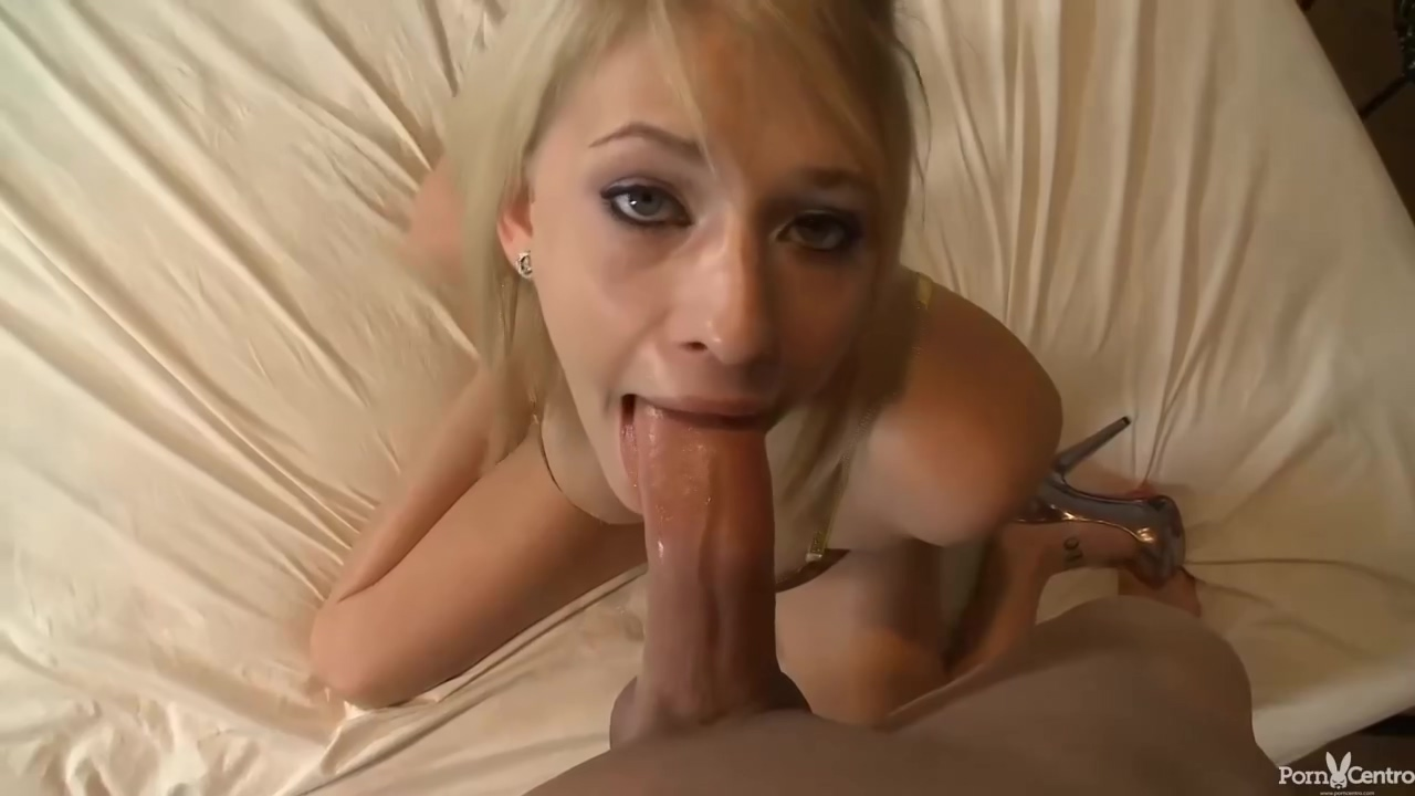 Blonde chick in shoes with high heels, Allie James is sucking a fat cock and riding it