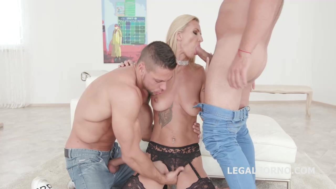 Smashing Blonde In Black Stockings And Garter Belt Alina Long Is Getting Doublefucked And Loving It
