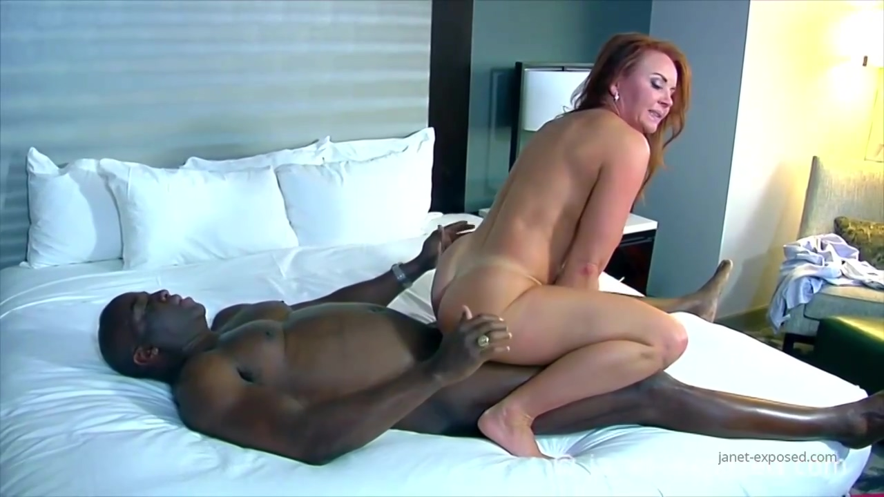 Red haired mature woman with big boobs, Janet Mason likes to fuck a black dude