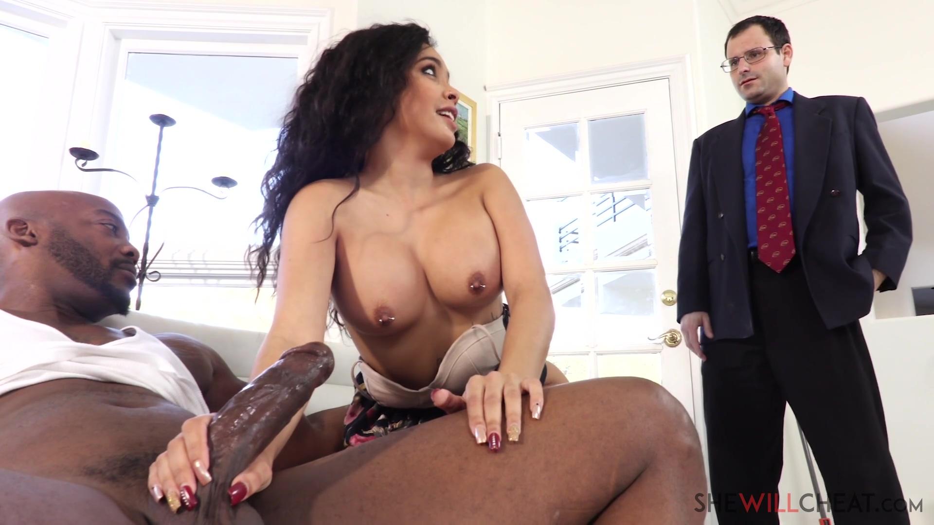 Aaliyah Hadid - Busty Aaliyah Hadid fucks a BBC right in front of her cuckold husband - E103