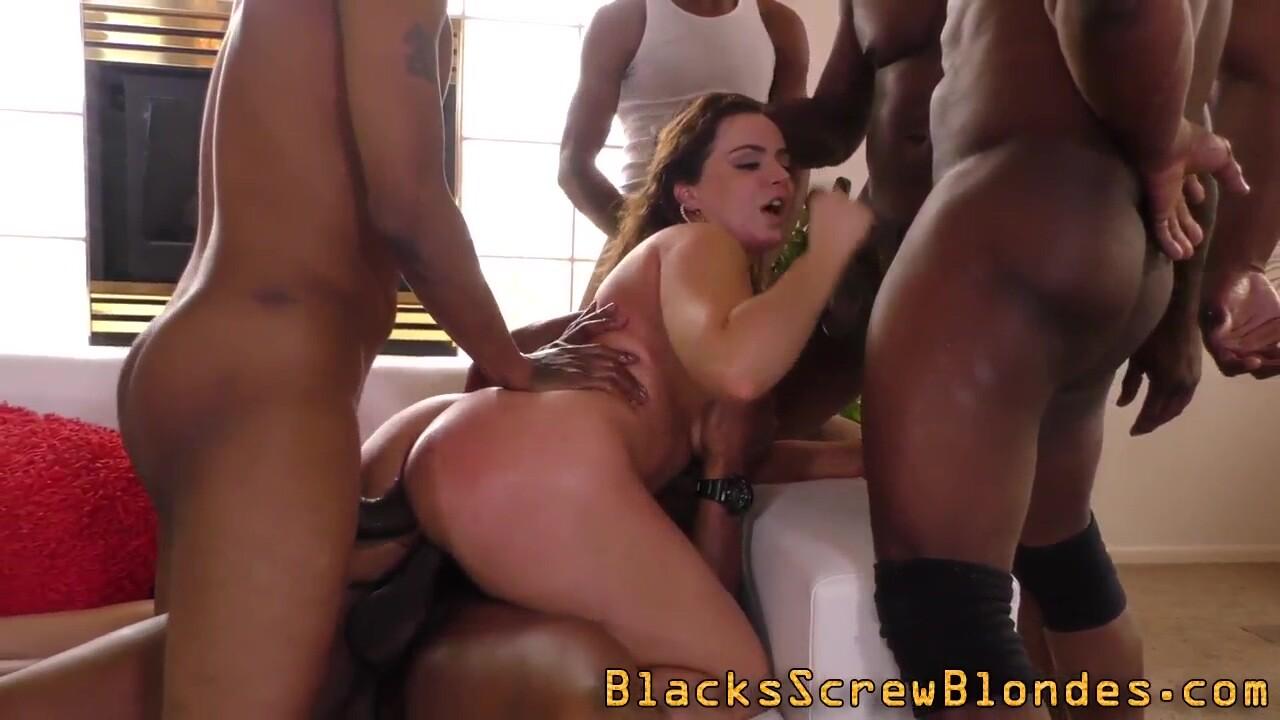 Big Titted Babe Gangbangs Black Cocks