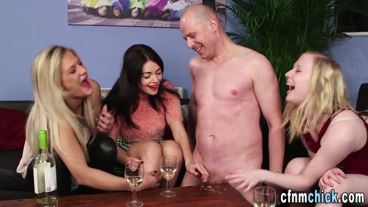 Partying Cfnm Brit Sluts Jerk Naked Moron