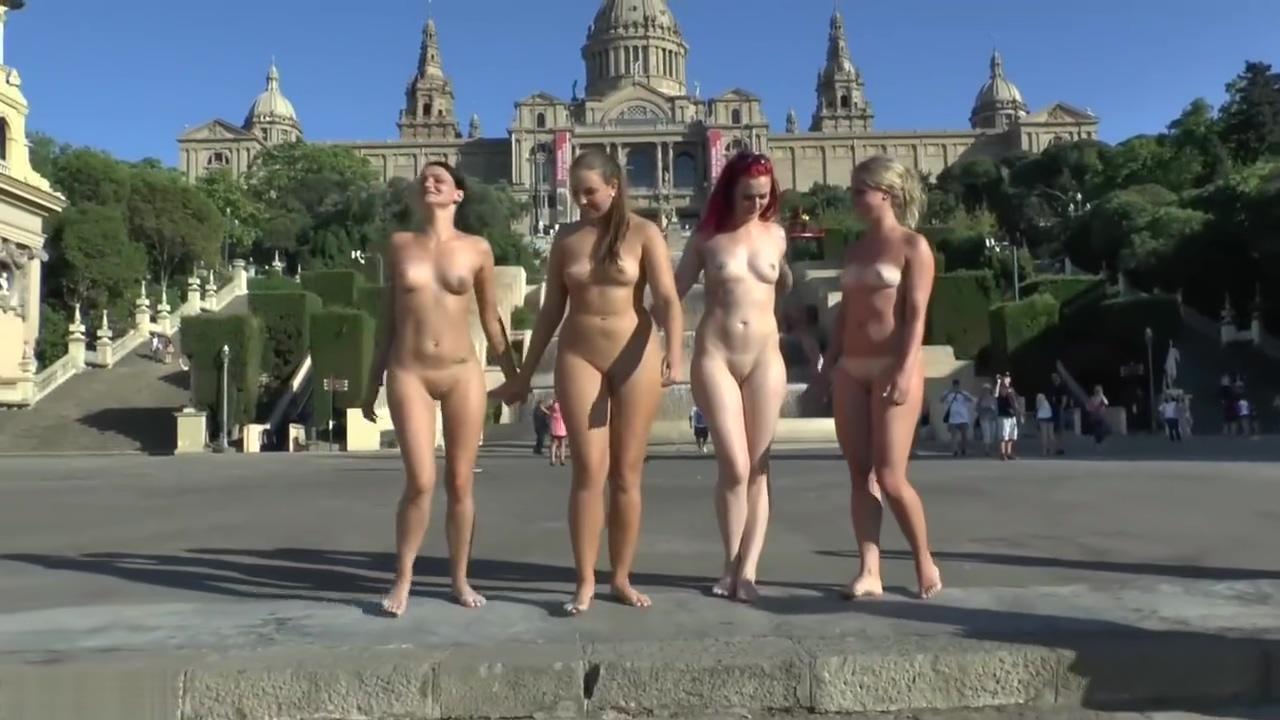 4 nude women at catalonian national palace , bercelona, Spain